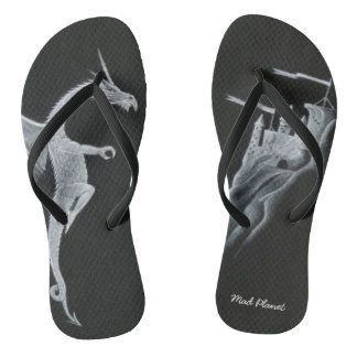 Dragon & Mountain Top Castle Flip Flops