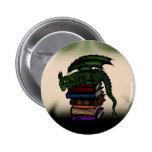 Dragon on Books 2 Inch Round Button