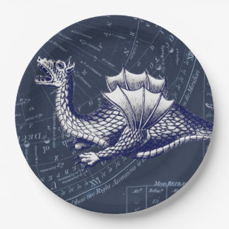 Dragon on Bue Gobal Chart Paper Plate
