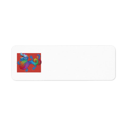 Dragon on Red return address label
