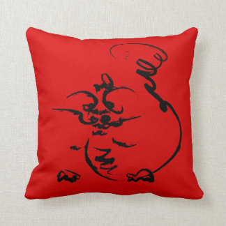 Dragon on red throw pillow