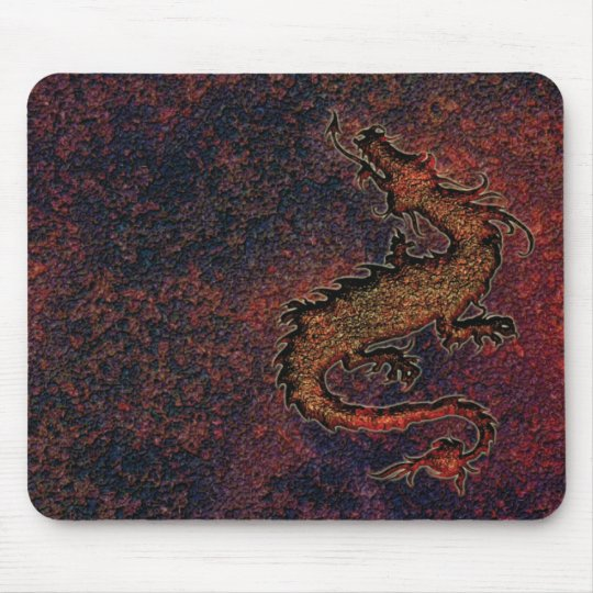 dragon on rusty metallic background mouse pad
