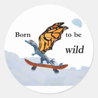 Dragon on Skateboard Round Sticker