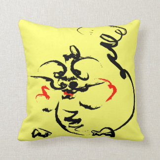 Dragon on yellow throw pillow