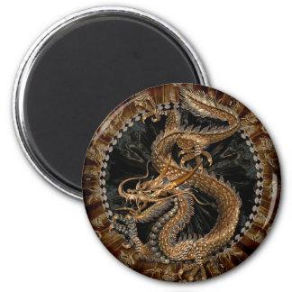 Dragon Pentagram 2 Inch Round Magnet