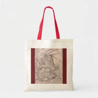 Dragon Pentagram red tan brown Magical Unicorn Tote Bag