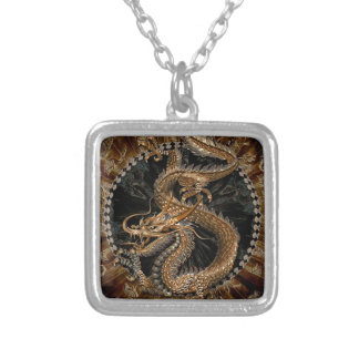 Dragon Pentagram Silver Plated Necklace