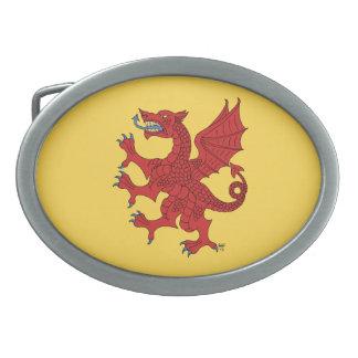 Dragon Rampant (Red) Oval Belt Buckles