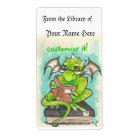 Dragon Reading fantasy art sticker bookplates