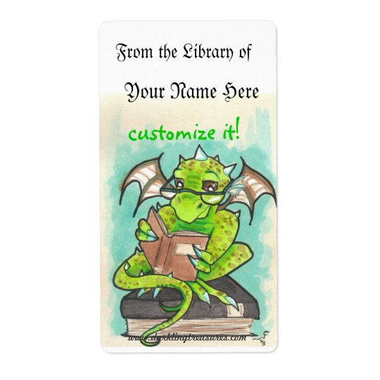 Dragon Reading fantasy art sticker bookplates Shipping Label
