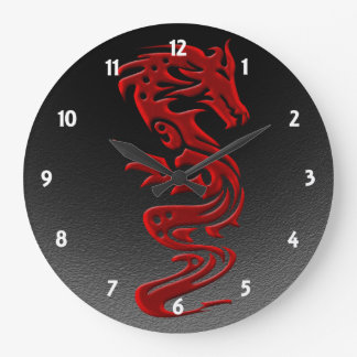 Dragon red large clock