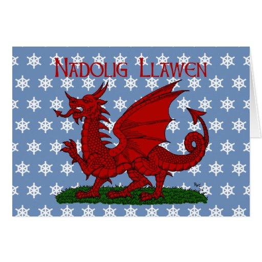 Dragon rouge de carte de Noël du Pays de Galles