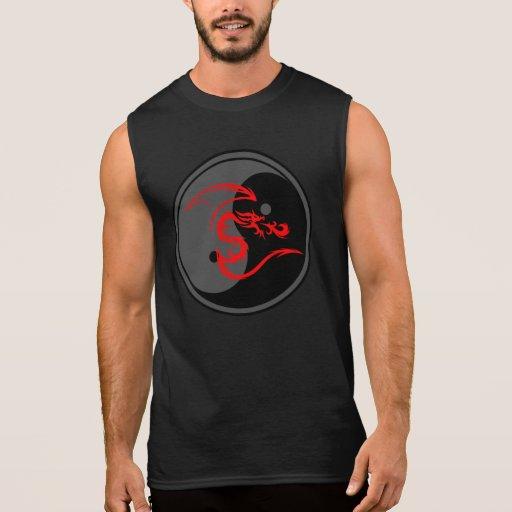 Dragon rouge et conception 2 de Yin Yang T-shirts