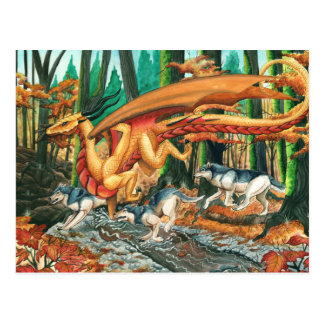 Dragon Running with Wolves by Carla Morrow Postcard