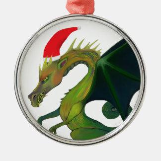 Dragon Santa Metal Ornament