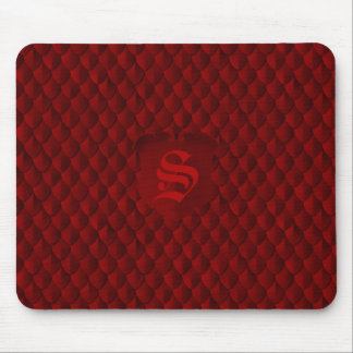 Dragon Scale Armor Blood Red Monogram Mouse Pad