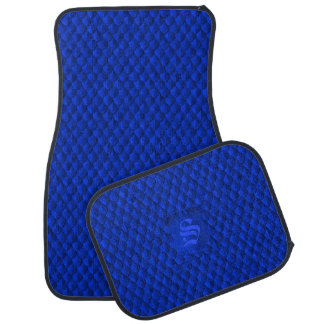 Dragon Scale Armor Cobalt Blue Monogram Car Mat