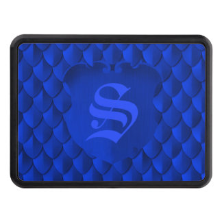 Dragon Scale Armor Cobalt Blue Monogram Tow Hitch Covers