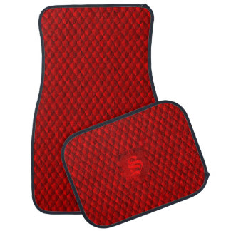 Dragon Scale Armor Crimson Red Monogram Car Mat