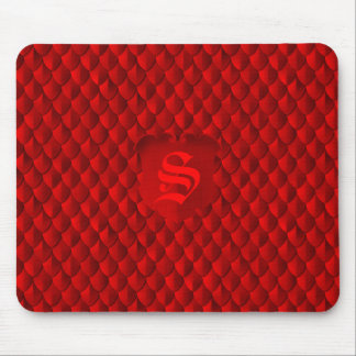 Dragon Scale Armor Crimson Red Monogram Mouse Pad