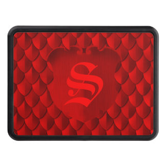 Dragon Scale Armor Crimson Red Monogram Trailer Hitch Cover