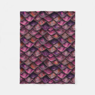 Dragon Scales - Fushia Fleece Blanket