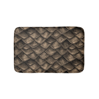 Dragon Scales - Gray, Brown Bath Mat