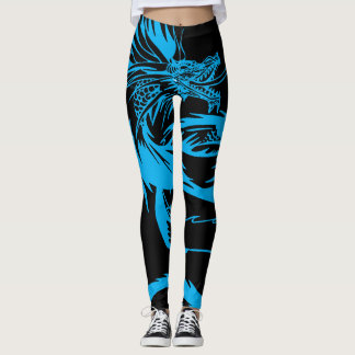 Dragon Scream Vintage RPG Blue Dragons Leggings