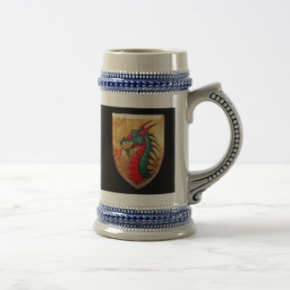 Dragon Shield on Black Beer Stein