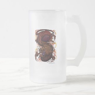 Dragon (Signature Design) Frosted Glass Beer Mug