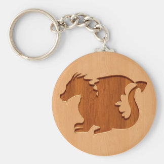 Dragon silhouette engraved on wood effect basic round button keychain