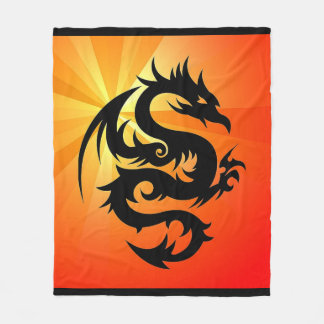 Dragon Silhouette Fleece Blanket