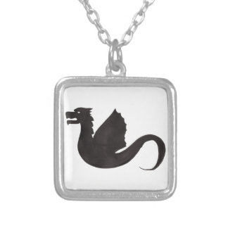Dragon Silhouette Silver Plated Necklace