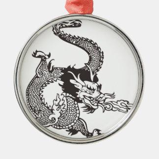 Dragon Silver-Colored Round Ornament