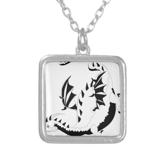 dragon silver plated necklace