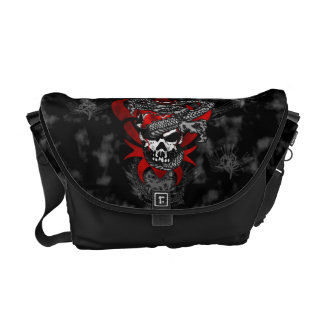 Dragon Skull w/Shadow Lilies Messenger Bag
