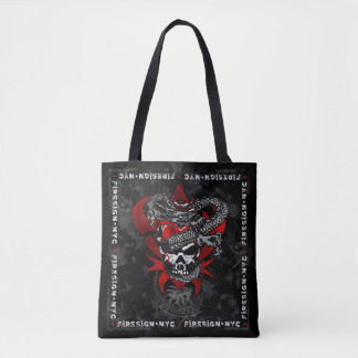 Dragon Skull w/Shadow Lilies Tote Bag