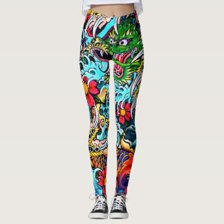 Dragon Snatching Koi Leggings