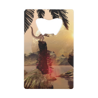 Dragon standing on a rock credit card bottle opener