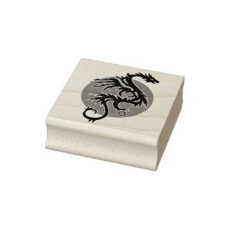 Dragon Sun left - black red white + your ideas Rubber Stamp