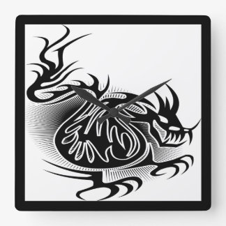 Dragon tattoo design square wall clock