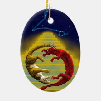 Dragon Tiger Constellation Ceramic Ornament