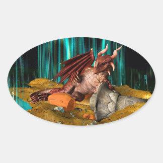 Dragon Treasure Oval Sticker