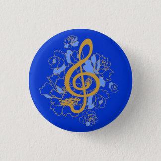 Dragon Treble Clef  Peonies Music Custom Button
