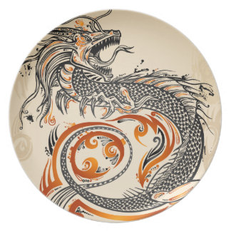 Dragon Tribal grunge Tattoo design  Plate