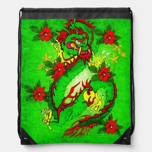 Dragon vert et fleurs rouges sac avec cordons