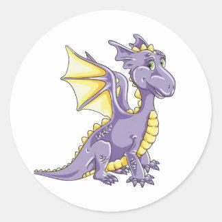 Dragon violet classic round sticker