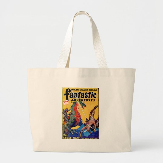 Dragon vs. Eagle Man Large Tote Bag