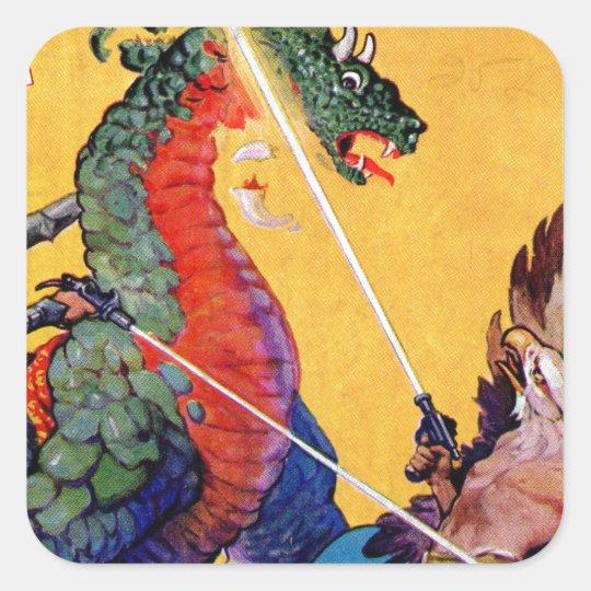 Dragon vs. Eagle Man Square Sticker