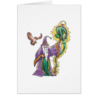 dragon wizard greeting card